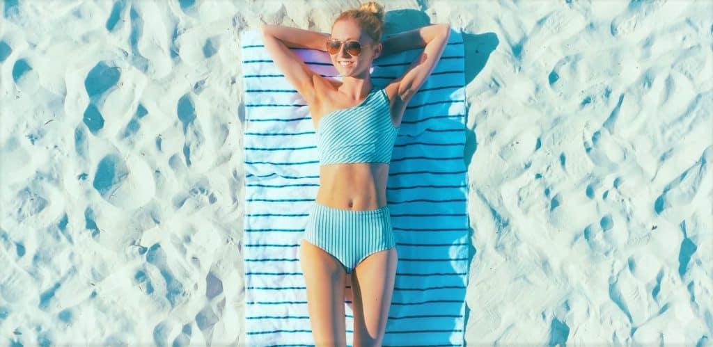 girl tanning in sun